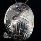 EAGLE, sterling silver oval pendant, by Norman Seaweed