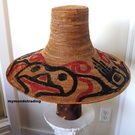 Vintage Salish cedar bark woven HAT with Sisiutl design