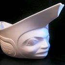 White Porcelain Spirit Canoe by Terry Jackson